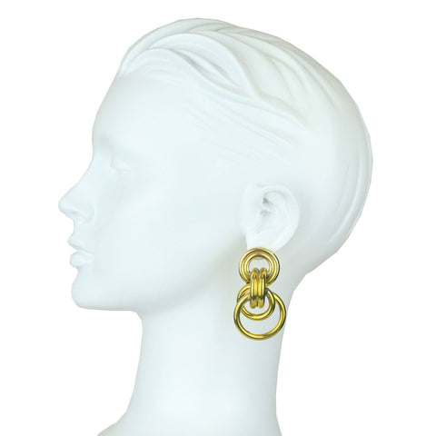 Claudia Gold Plated Metal Double Hoop Earrings