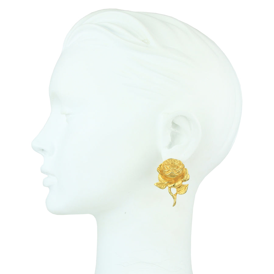 Rose Flower and Bee Metal Clip Earrings