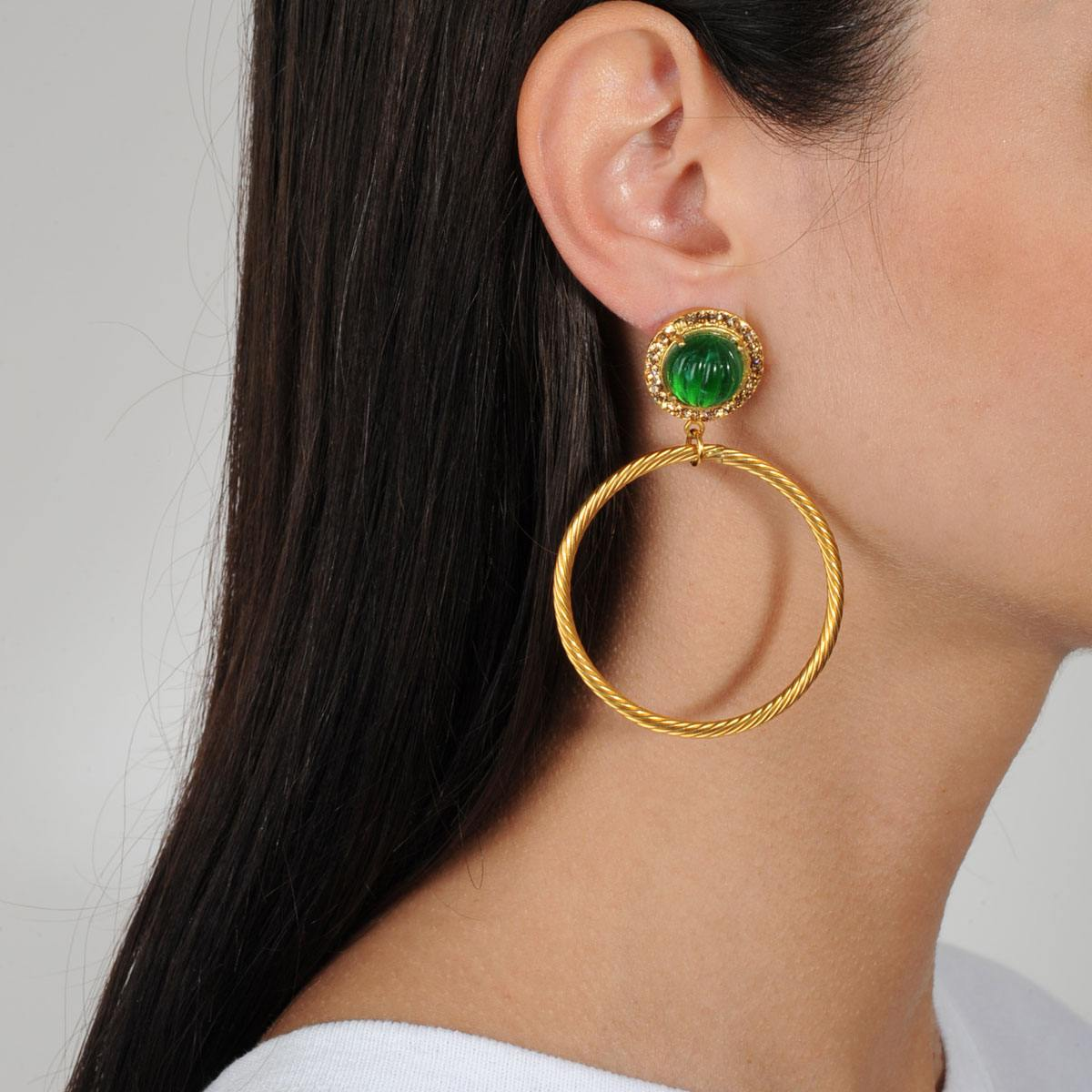 gold plated vintage hoops with green cabuchons katerina psoma