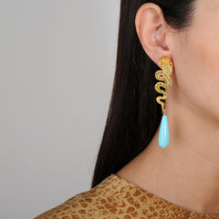 Nuwa Gold Plated Metal and Snake Earrings with Turquoise Drops