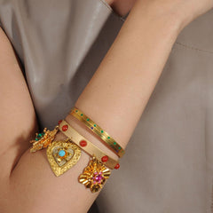 gold plated vintage bracelet with charms katerina psoma