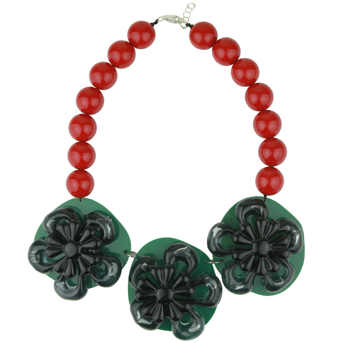 Rena Green Acrylic Necklace with Flower and Colored Beads