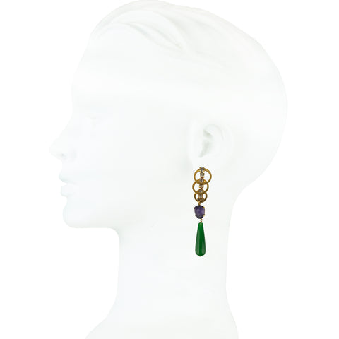 Betty Green Agate and Cat's Eye Slab Earrings