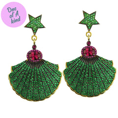 Ishtar Dangle Earrings with Green Crystals