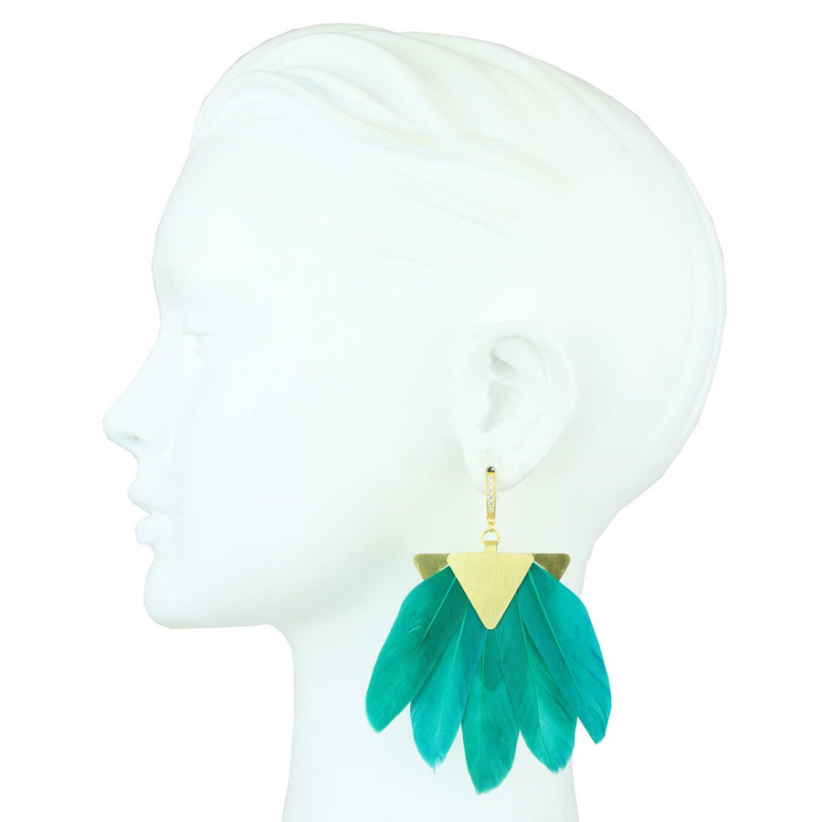 Green Feather Gold Plated Metal Earrings statement katerina psoma