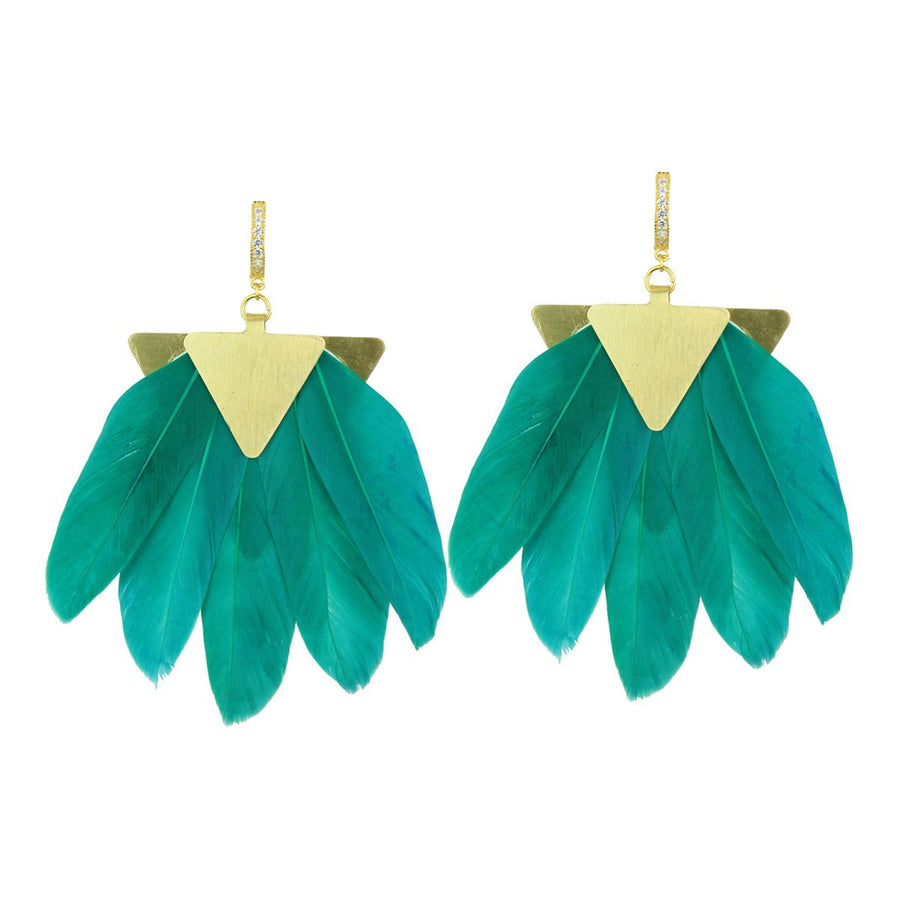 Green Feather Gold Plated Metal Earrings katerina psoma