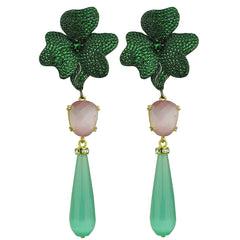 green drop and green crystals dangle earrings katerina psoma