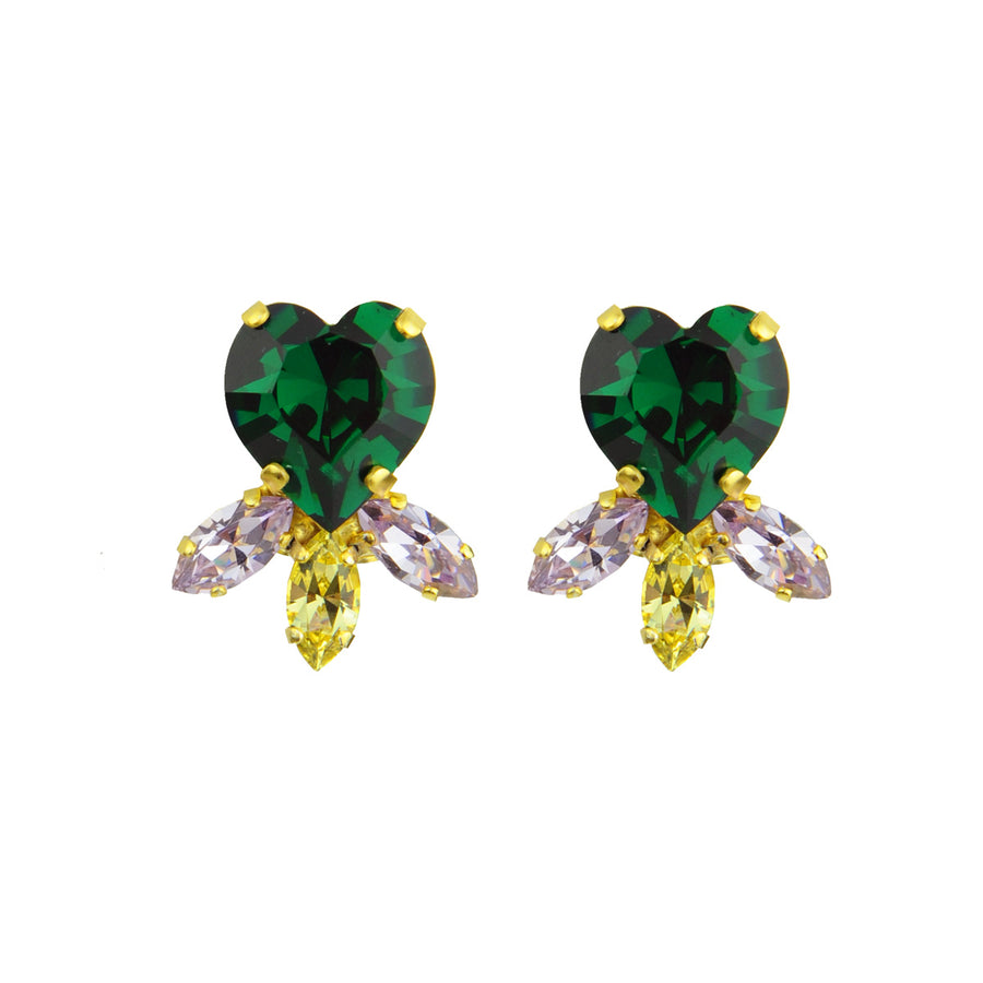 Katerina Psoma Multicolor Heart Crystal Clip Earrings