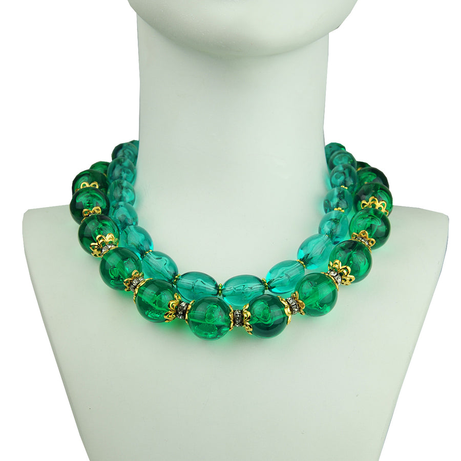 Katerina Psoma Green short necklace with acrylic emerald beads