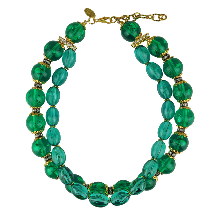 Katerina Psoma Green Short Necklace double row costume jewelry