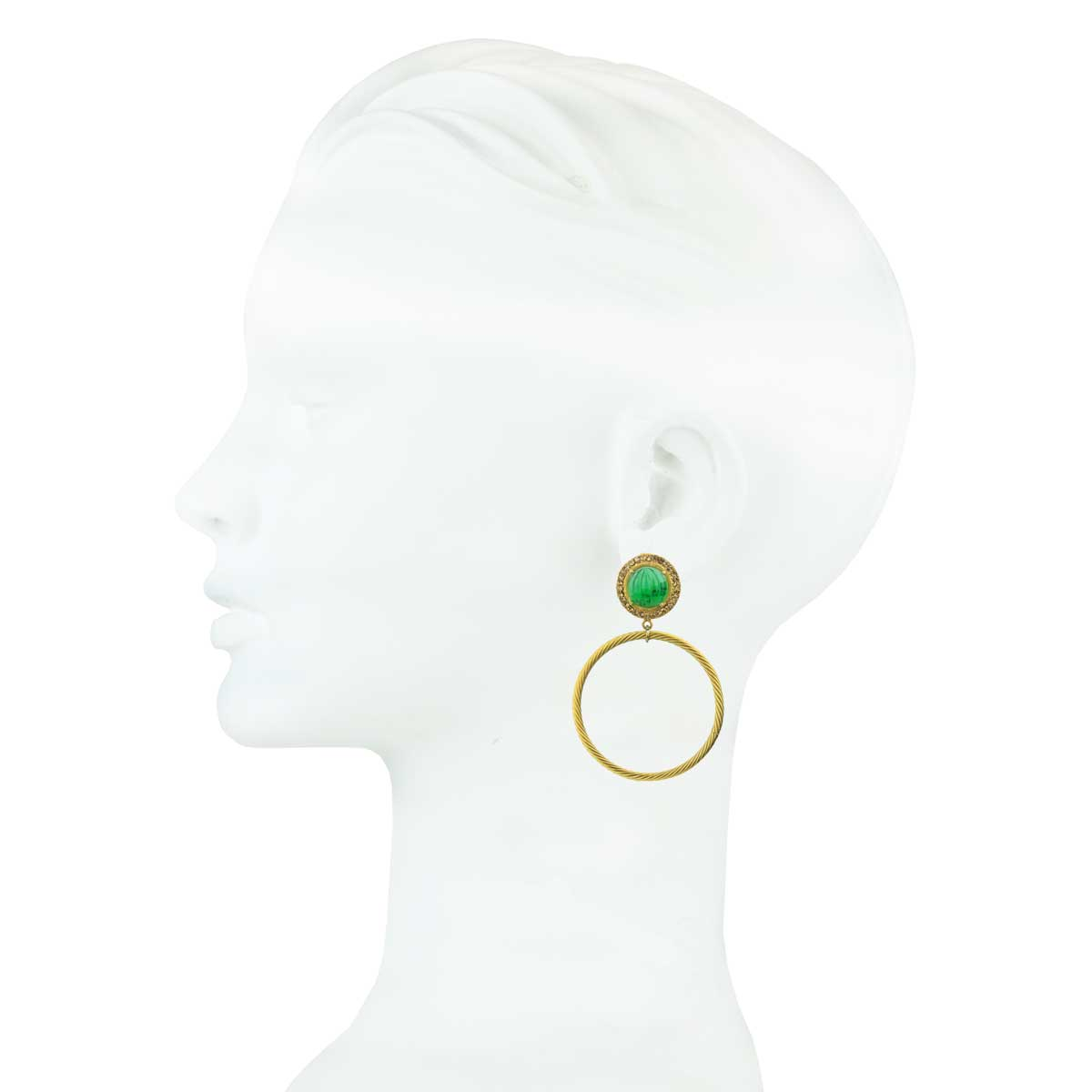 Gina Green Rosettes and Gold plated Metal Hoops