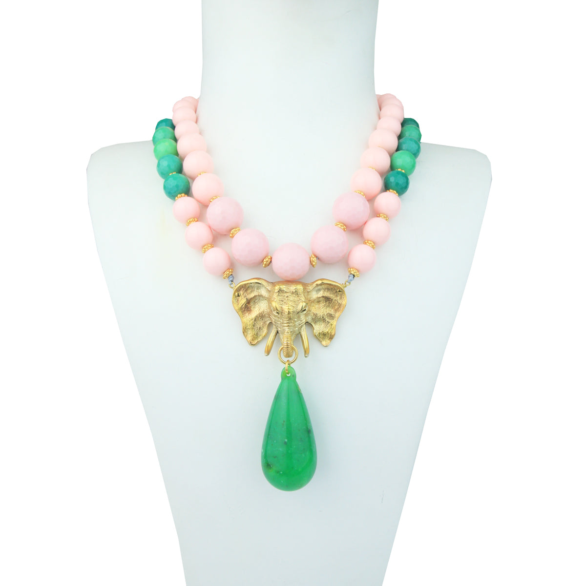 Iris Chrysoprase and Coral Paste Beads Short Necklace with Gold Plated Elephant