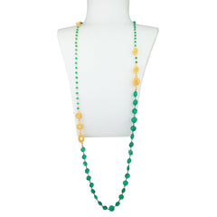 Aurora Long Necklace with Green Agate and Jade