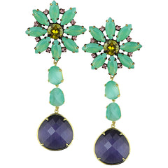Alice Green Crystal Rosette and Cat's Eye Slab Clip Dangle Earrings