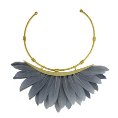 grey feather collar necklace katerina psoma