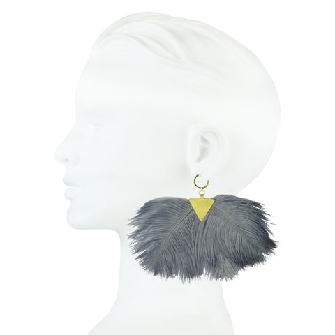 Artemis Grey Ostrich Feather Gold Plated Metal Earrings