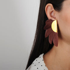 clip earrings with brown feather