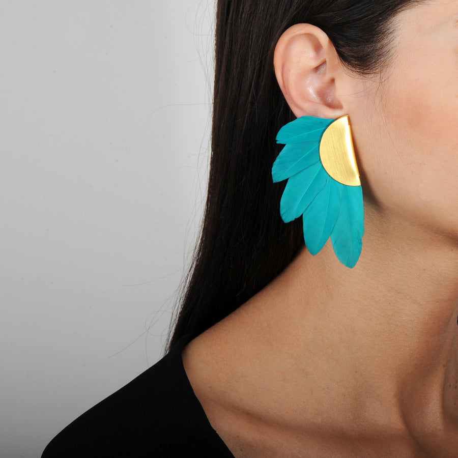 clip earrings with green feathers