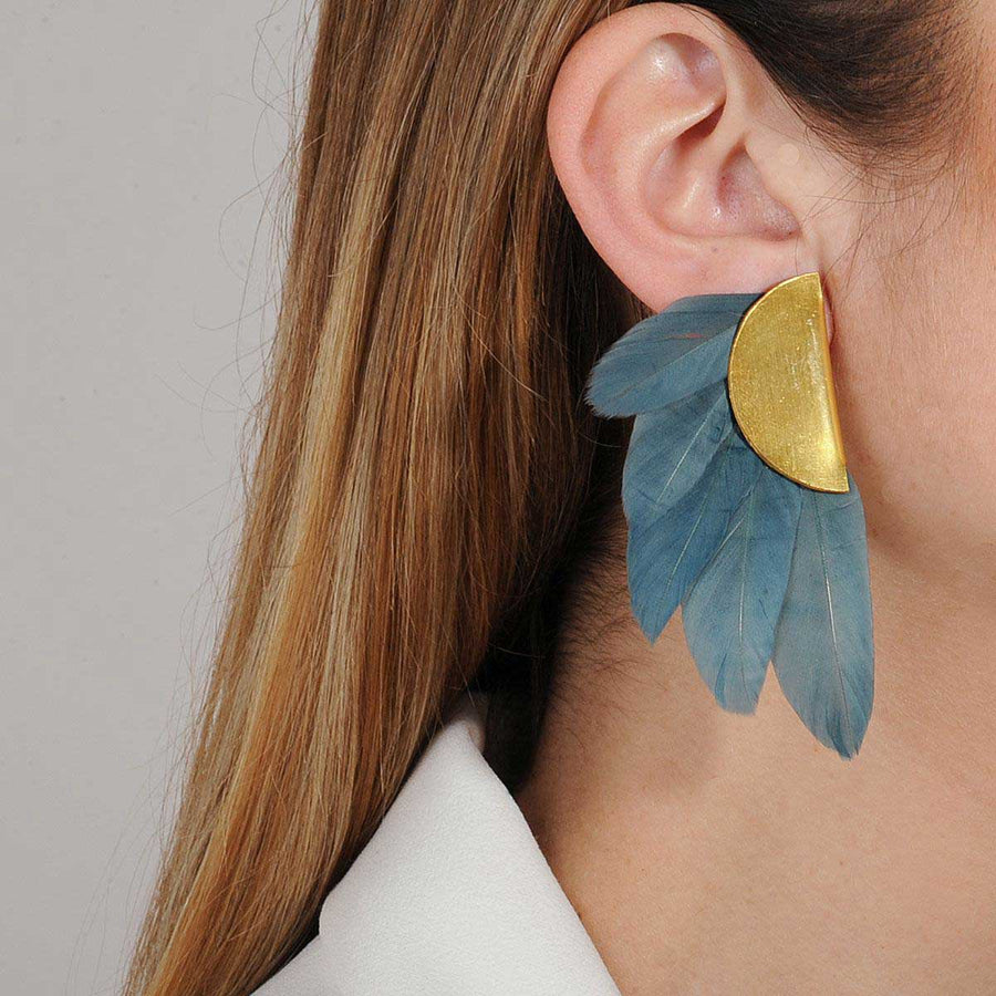 clip earrings petrol feathers KATERINA PSOMA