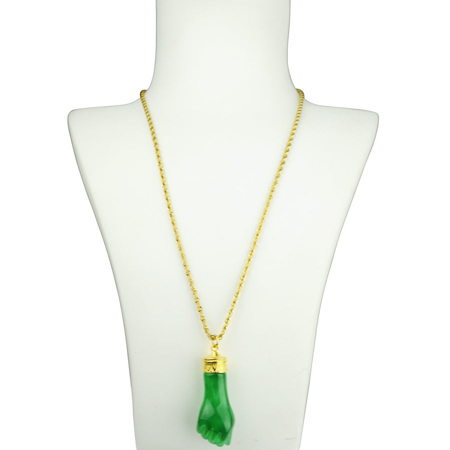 Katerina Psoma Long Necklace with Green Carved Resin  pendant