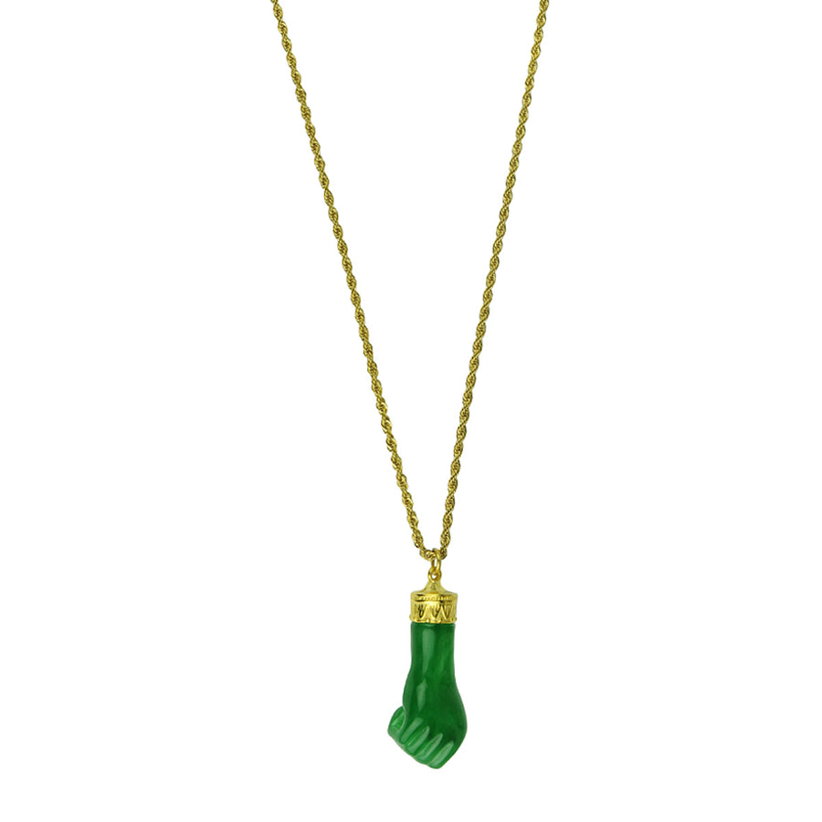 Katerina Psoma Long Necklace with Green Carved Resin