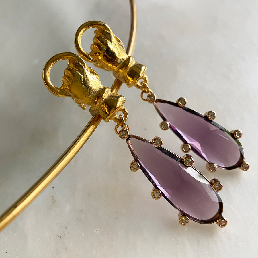 Katerina Psoma Purple Drop Earrings costume jewelry