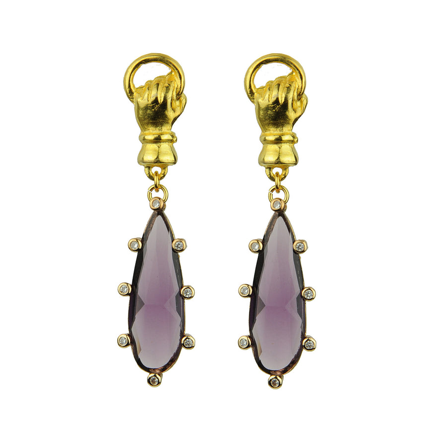 Katerina Psoma Purple Drop Earrings