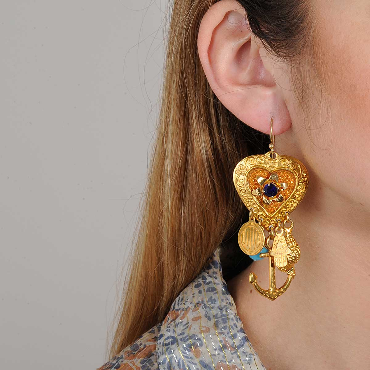 hook earrings with vintage heart charms katerina psoma
