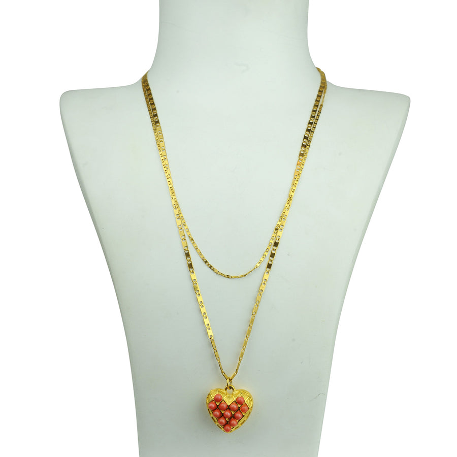 Gold plated chain heart pendant necklace with coral cabochons katerina psoma