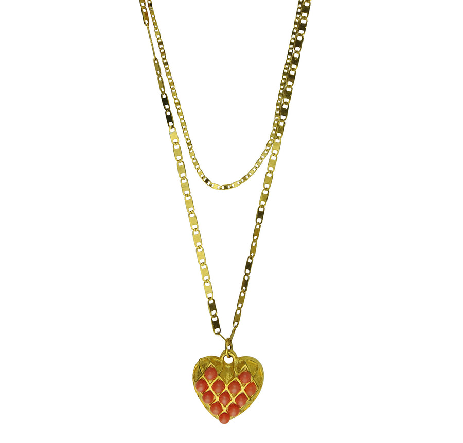 Heart Pendant with gold plated chain and coral cabochons