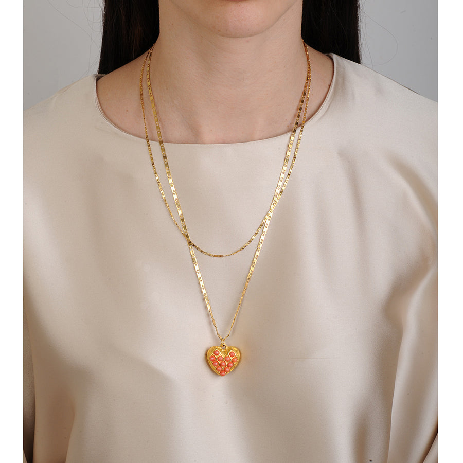 Gold plated chain heart pendant necklace with coral cabochons
