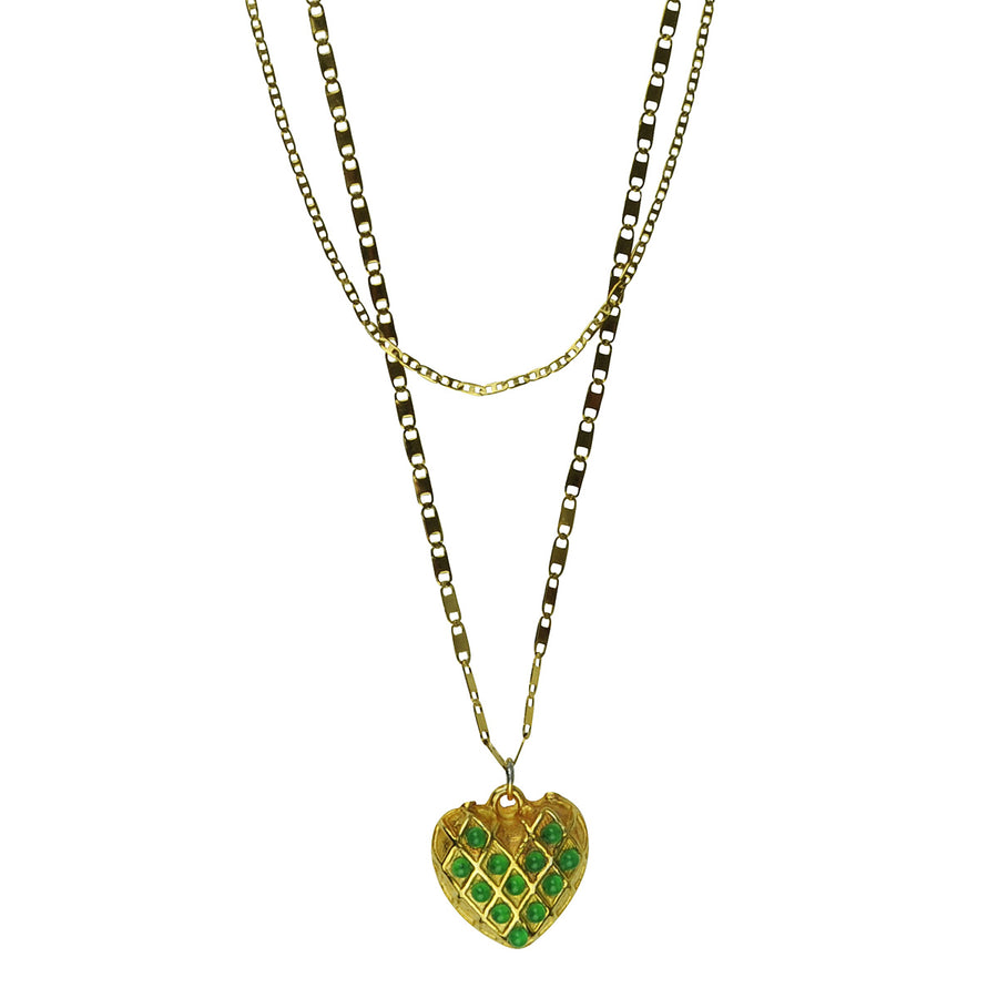 green heart pendant with gold plated chain katerina psoma