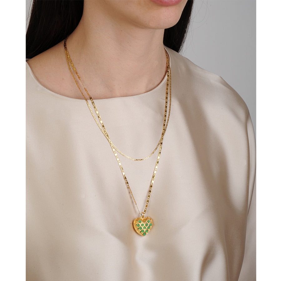 chain pendant with heart adorned with green cabochons katerina psoma