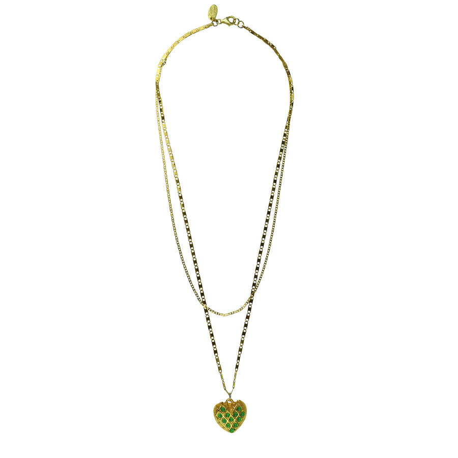 green heart gold plated chain pendant katerina psoma
