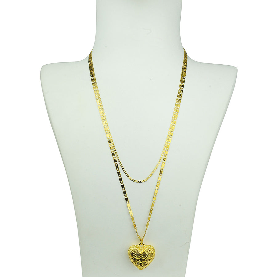 double gold plated chain heart pendant necklace Katerina Psoma