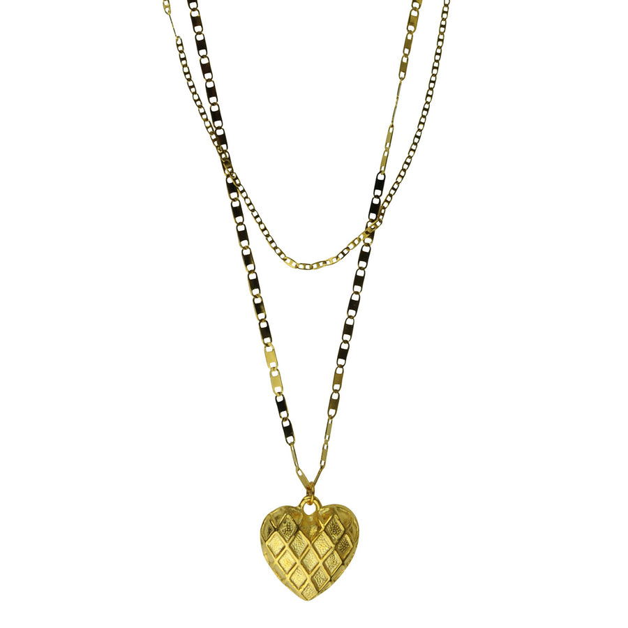 double chain heart pendant necklace Katerina Psoma
