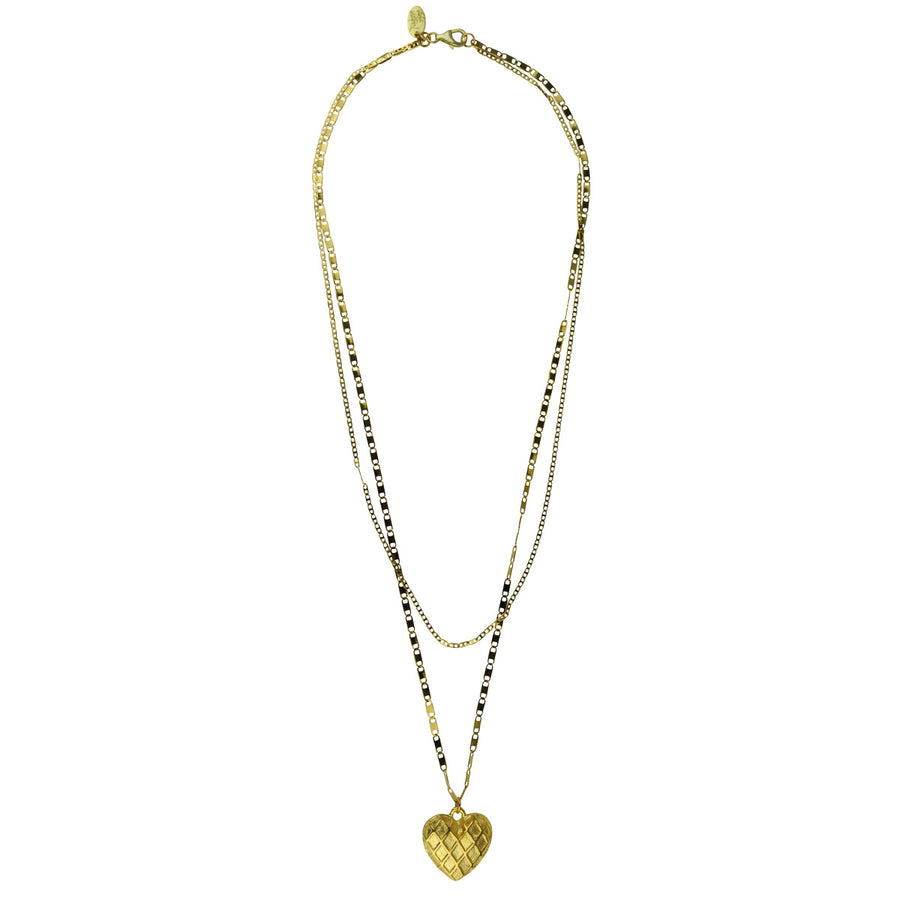 double chain heart pendant necklace Katerina Psoma gold plated