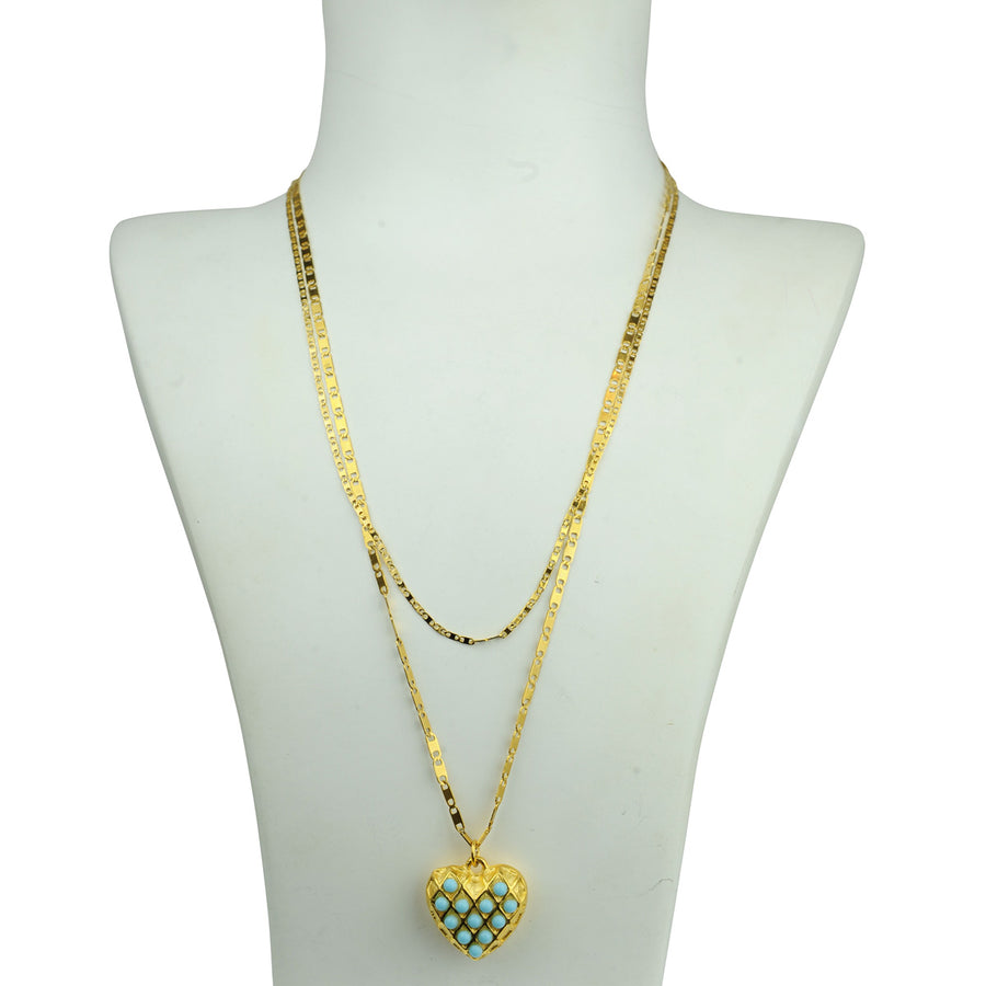Double chain heart pendant with turquoise Katerina Psoma detail