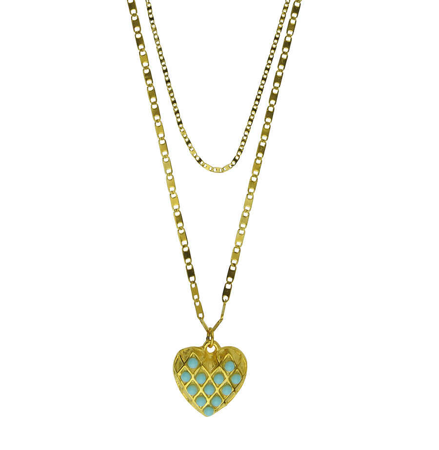 Double chain heart pendant with turquoise Katerina Psoma