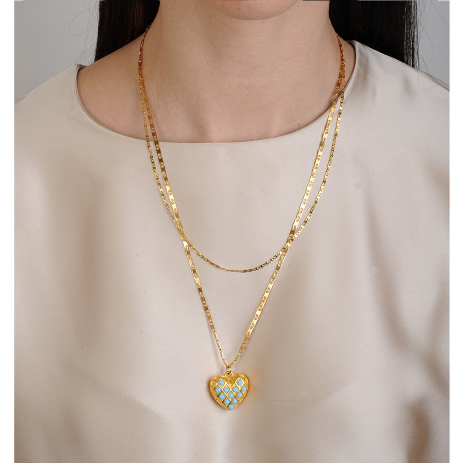 Gold plated Double chain heart pendant with turquoise Katerina Psoma