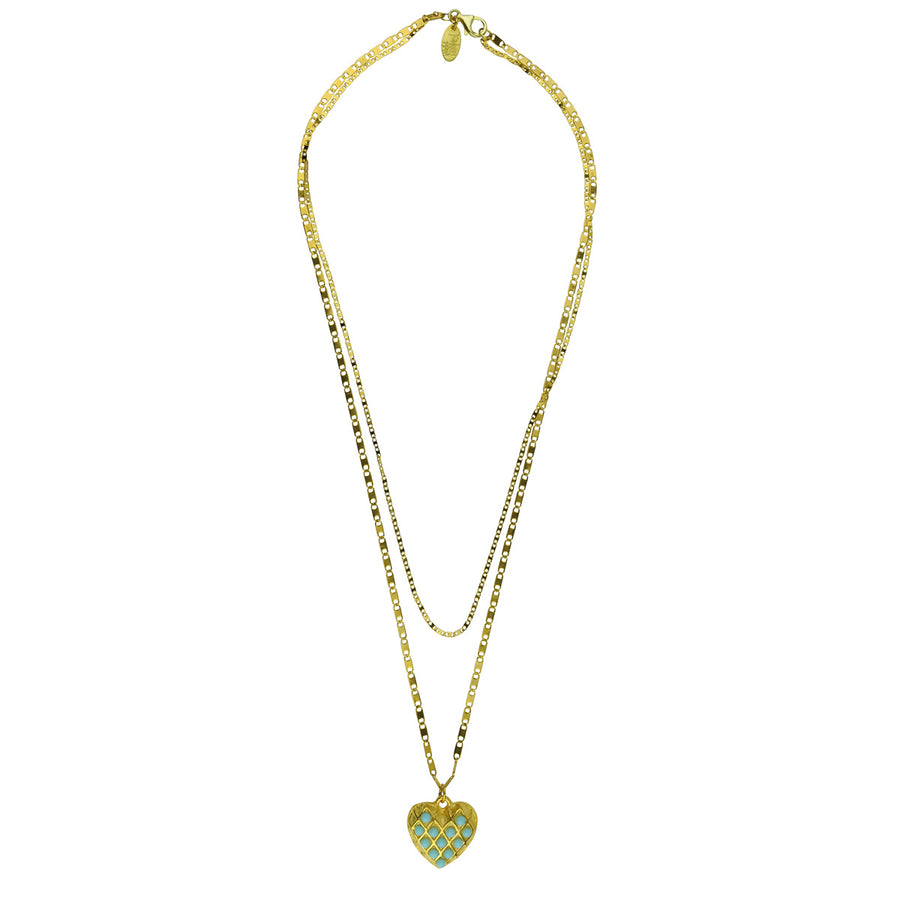 Bohemian Double chain heart pendant with turquoise Katerina Psoma