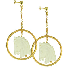 Carved Bone Horse Drop Earrings