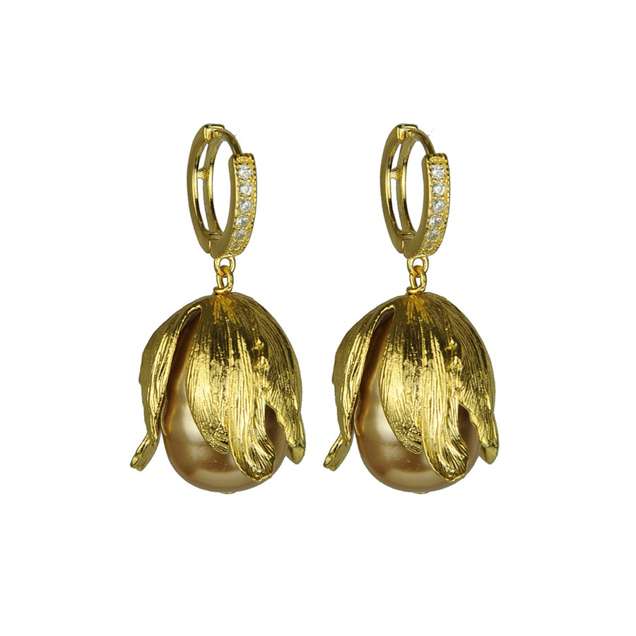 Katerina Psoma Beige Pearls Hoop Earrings