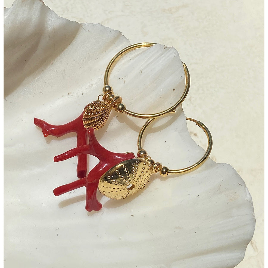 katerina psoma gold plated 925 silver hoops with coral earrings