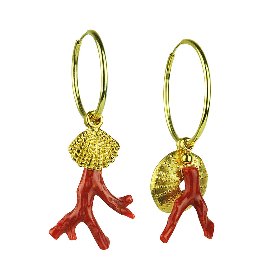 katerina psoma gold plated 925 silver hoops with coral