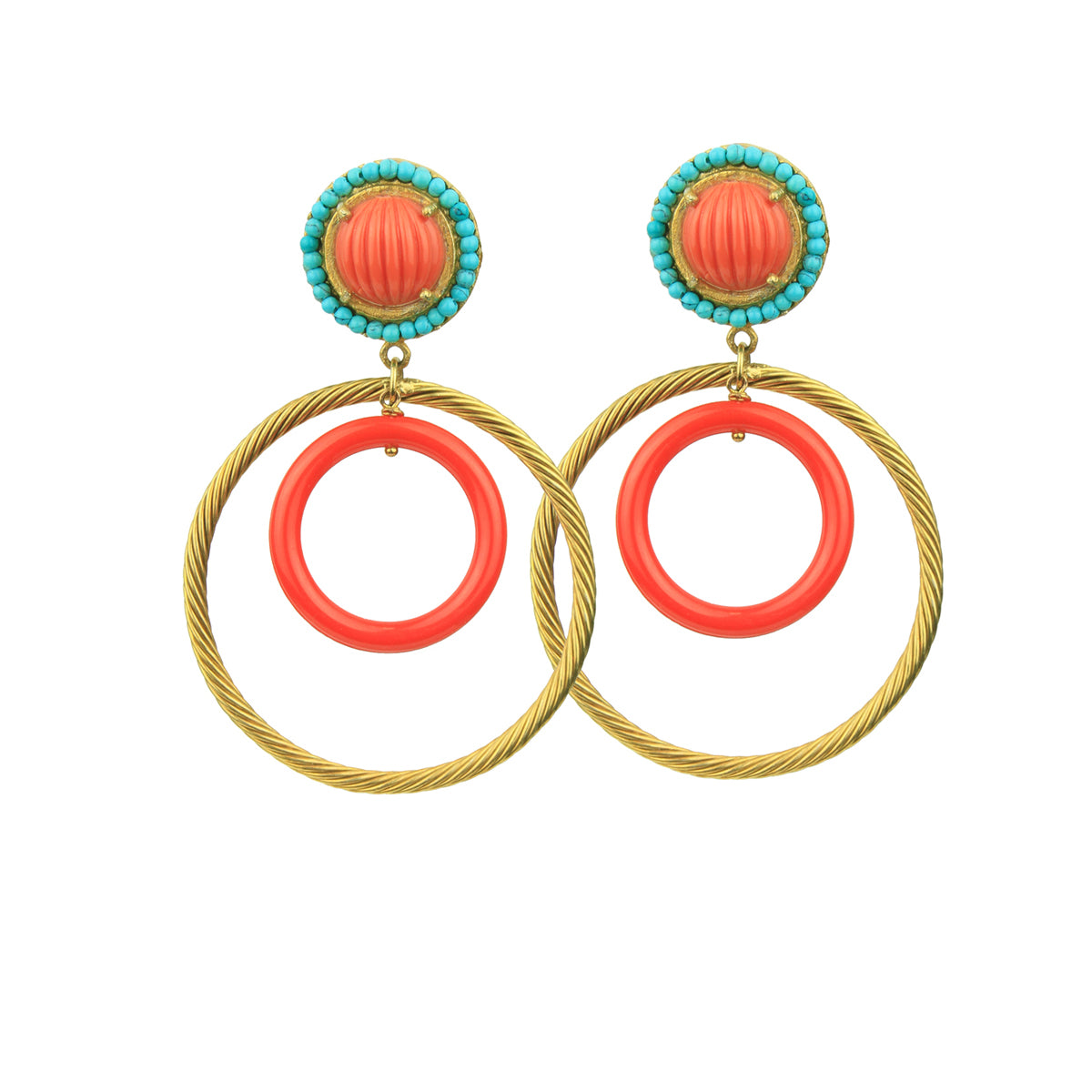 Gina Coral Rosettes and Gold plated Metal Hoops