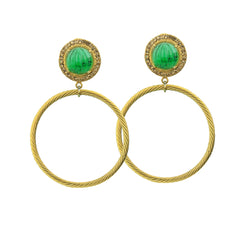 gold plated vintage hoops with cabuchons katerina psoma