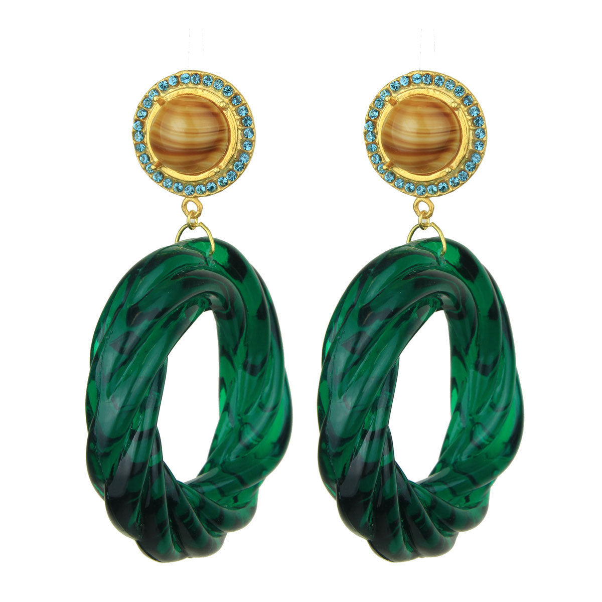 Angelica Rosettes and Green Round Resin Hoops