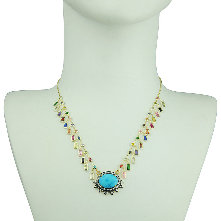 Katerina Psoma Howlite and Crystals Short Necklace gold plated 925 sterling silver