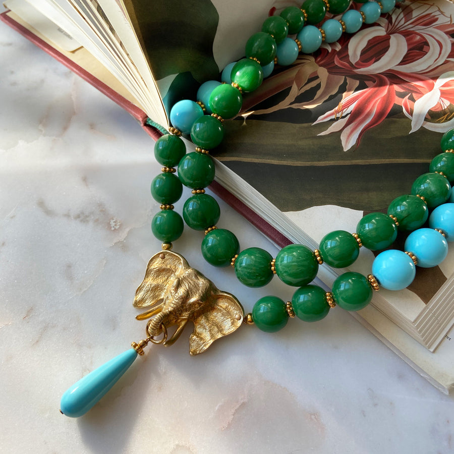katerina psoma ida green and turquoise short statement necklace instagram